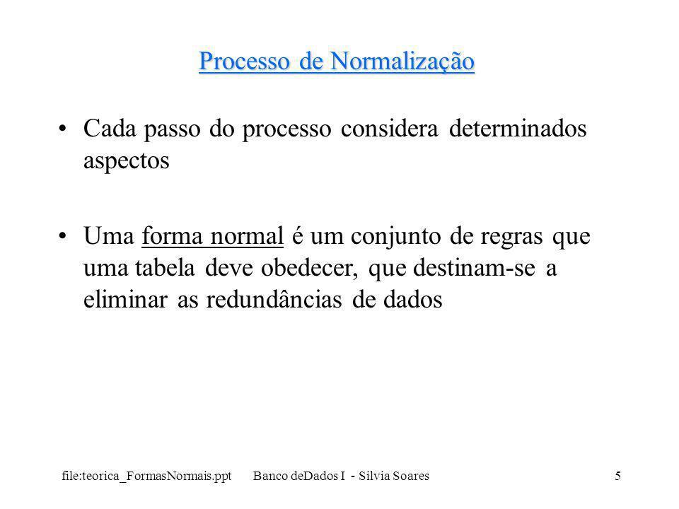 file:teorica_FormasNormais.ppt Banco deDados I - Silvia Soares5 Processo de Normalização Cada passo do processo considera determinados aspectos Uma fo