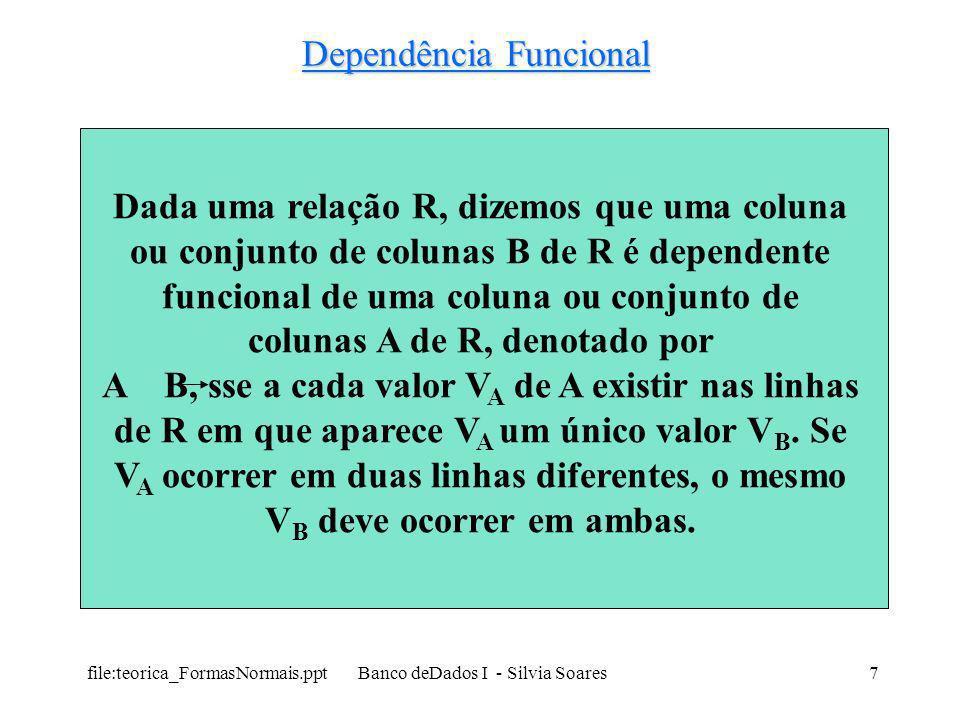 file:teorica_FormasNormais.ppt Banco deDados I - Silvia Soares18 Primeira Forma Normal (1FN ou PFN) Exemplo: – ÑN (A1, A2, A3, A4, A5 (B1, B2, B3, B4 (C1, C2, C3) (D1, D2)) (E1, E2, E3)) – Subdivisão em tabelas: 1 (A1, A2, A3, A4, A5) 2 (A1, A2, B1, B2, B3, B4) 3 (A1, A2, B1, C1, C2, C3) 4 (A1, A2, B1, D1, D2) 5 (A1, A2, E1, E2, E3)