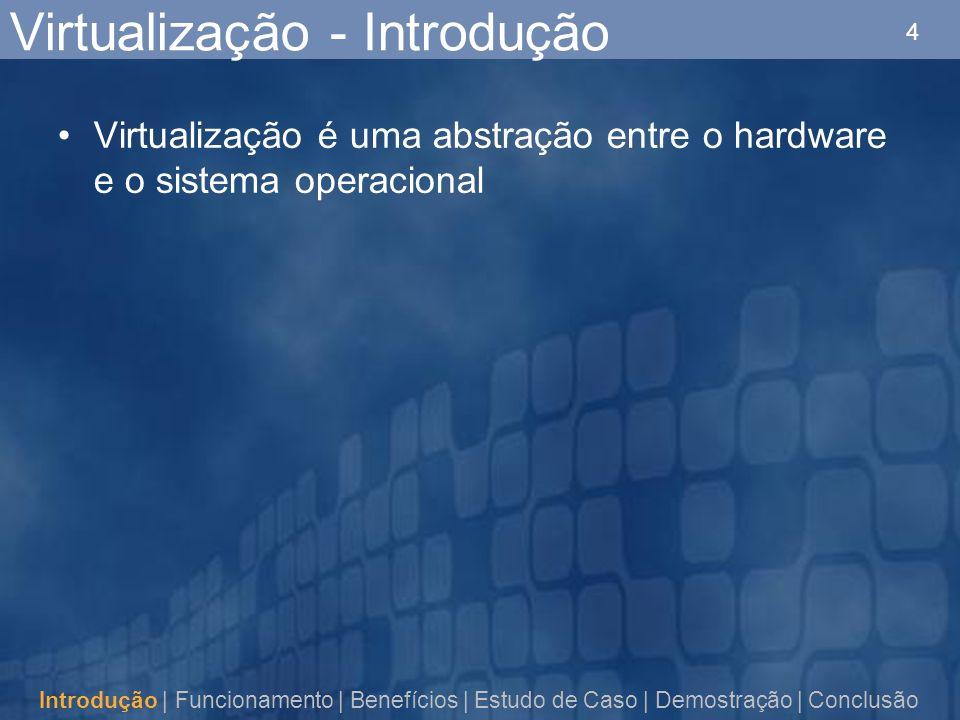 4 Virtualização - Introdução Virtualização é uma abstração entre o hardware e o sistema operacional Introdução | Funcionamento | Benefícios | Estudo de Caso | Demostração | Conclusão