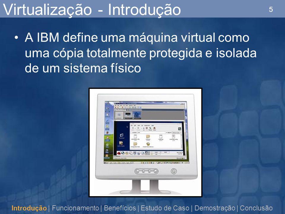 5 Virtualização - Introdução A IBM define uma máquina virtual como uma cópia totalmente protegida e isolada de um sistema físico Introdução | Funcionamento | Benefícios | Estudo de Caso | Demostração | Conclusão