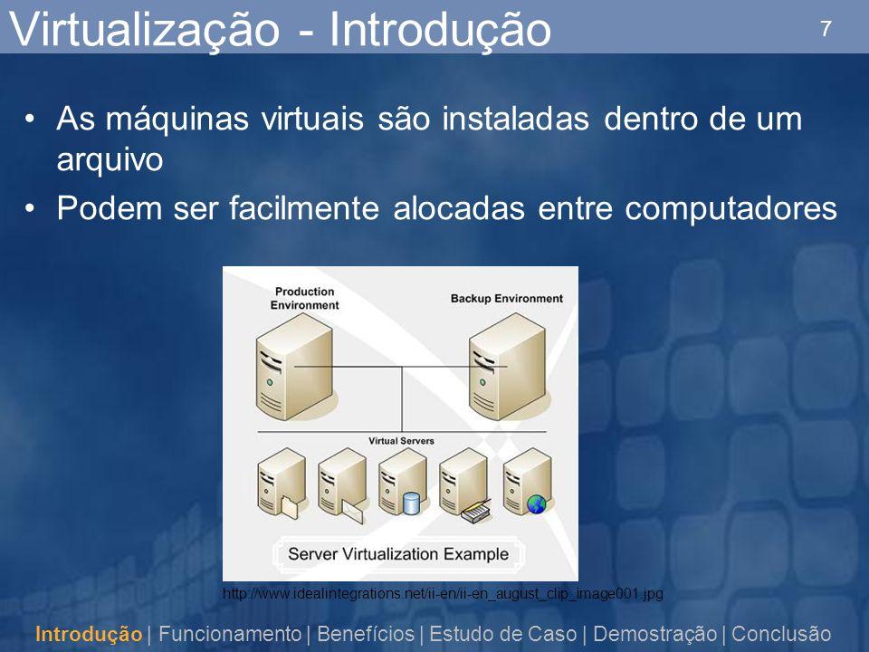 7 Virtualização - Introdução As máquinas virtuais são instaladas dentro de um arquivo Podem ser facilmente alocadas entre computadores Introdução | Funcionamento | Benefícios | Estudo de Caso | Demostração | Conclusão http://www.idealintegrations.net/ii-en/ii-en_august_clip_image001.jpg