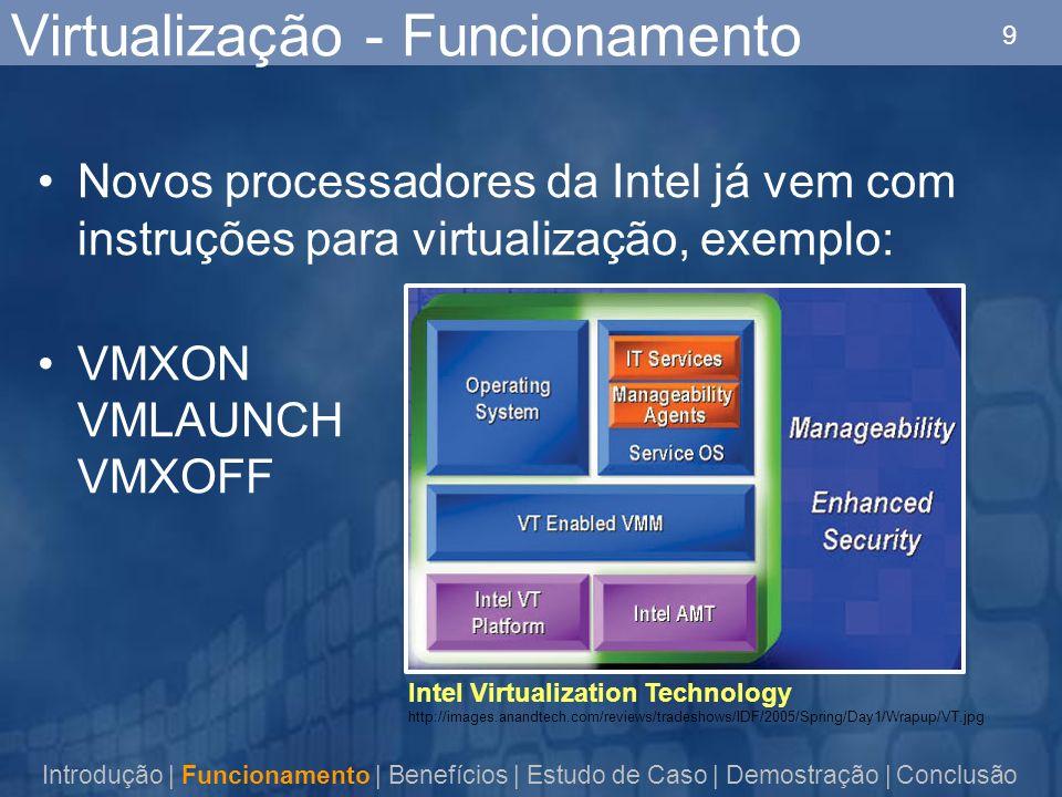 9 Virtualização - Funcionamento Novos processadores da Intel já vem com instruções para virtualização, exemplo: VMXON VMLAUNCH VMXOFF Introdução | Funcionamento | Benefícios | Estudo de Caso | Demostração | Conclusão Intel Virtualization Technology http://images.anandtech.com/reviews/tradeshows/IDF/2005/Spring/Day1/Wrapup/VT.jpg
