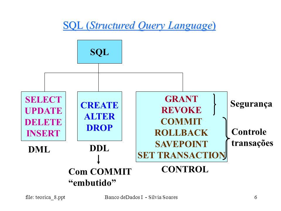 file: teorica_8.ppt Banco deDados I - Silvia Soares6 SQL (Structured Query Language) SQL SELECT UPDATE DELETE INSERT CREATE ALTER DROP GRANT REVOKE CO