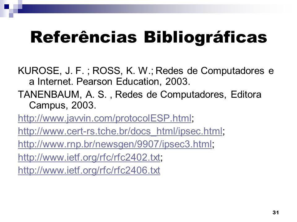 31 Referências Bibliográficas KUROSE, J. F. ; ROSS, K. W.; Redes de Computadores e a Internet. Pearson Education, 2003. TANENBAUM, A. S., Redes de Com