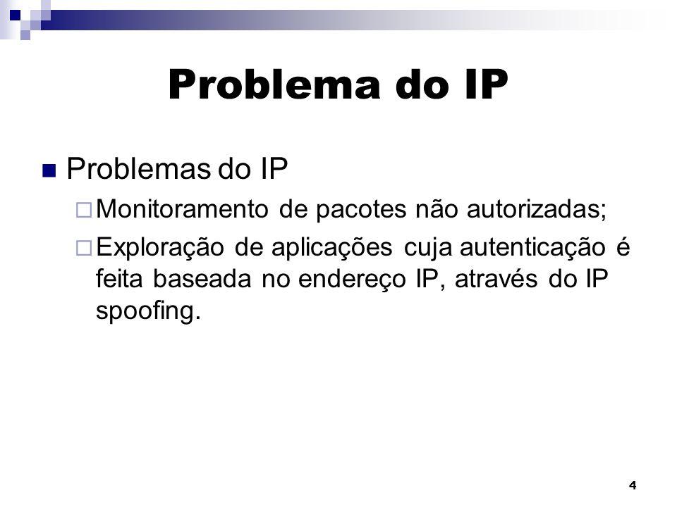 4 Problema do IP Problemas do IP Monitoramento de pacotes não autorizadas; Exploração de aplicações cuja autenticação é feita baseada no endereço IP,