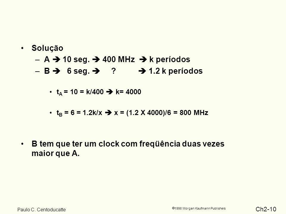 Ch2-10 1998 Morgan Kaufmann Publishers Paulo C. Centoducatte Solução –A 10 seg.