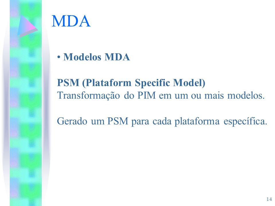 14 MDA Modelos MDA PSM (Plataform Specific Model) Transformação do PIM em um ou mais modelos. Gerado um PSM para cada plataforma específica.