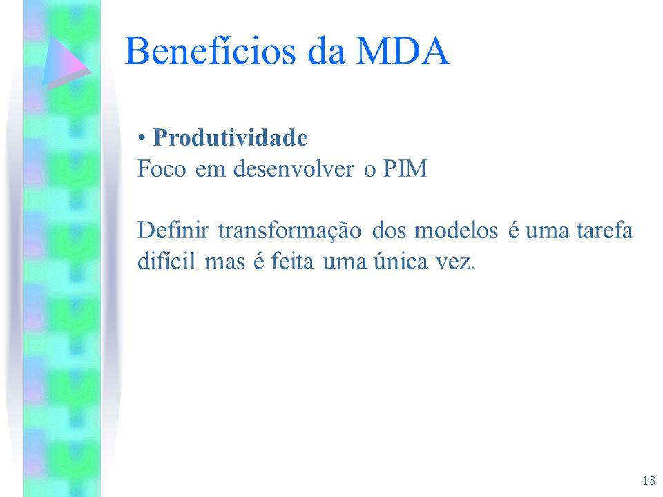18 Benefícios da MDA Produtividade Foco em desenvolver o PIM Definir transformação dos modelos é uma tarefa difícil mas é feita uma única vez.