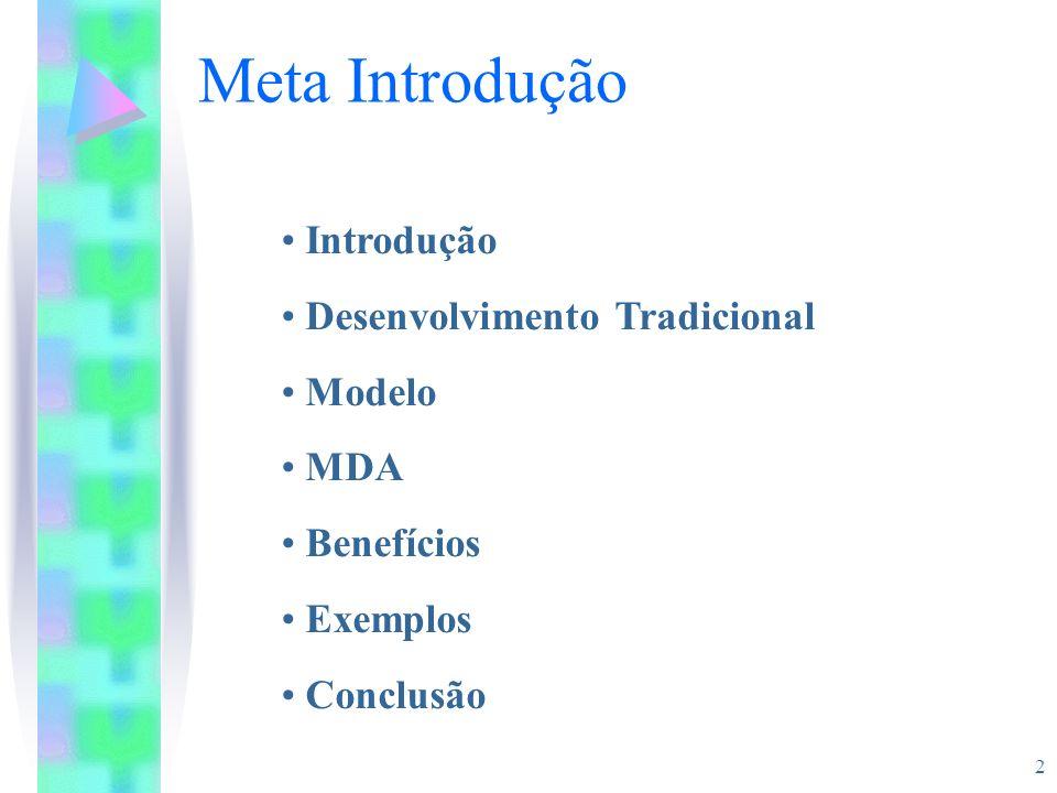 2 Meta Introdução Introdução Desenvolvimento Tradicional Modelo MDA Benefícios Exemplos Conclusão