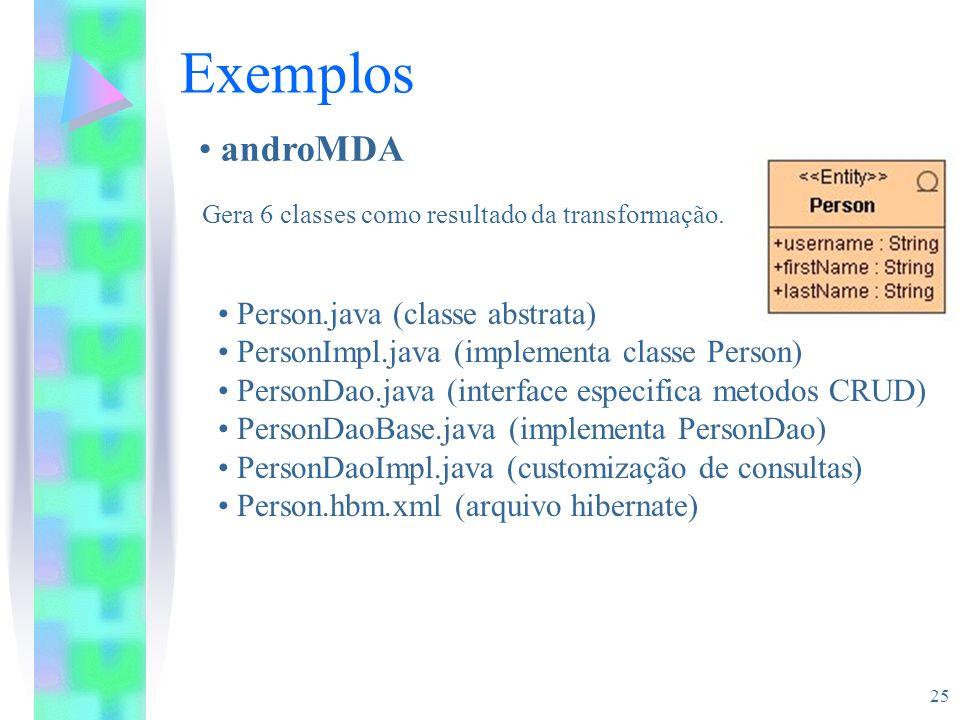 25 Exemplos androMDA Gera 6 classes como resultado da transformação. Person.java (classe abstrata) PersonImpl.java (implementa classe Person) PersonDa