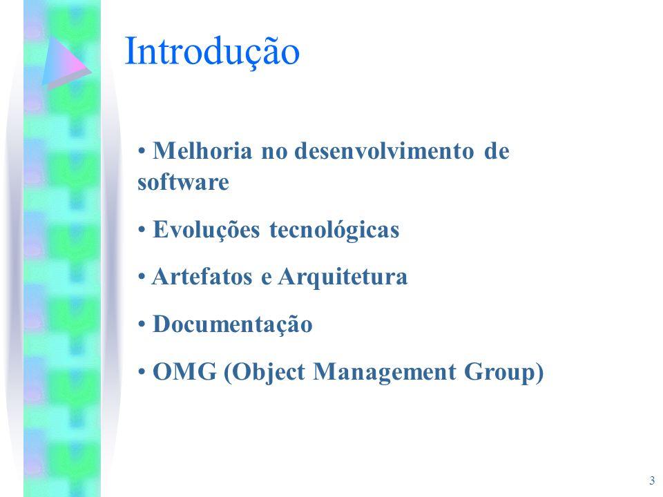 3 Melhoria no desenvolvimento de software Evoluções tecnológicas Artefatos e Arquitetura Documentação OMG (Object Management Group) Introdução