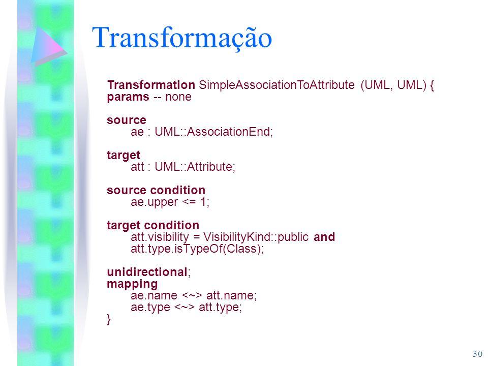 30 Transformação Transformation SimpleAssociationToAttribute (UML, UML) { params -- none source ae : UML::AssociationEnd; target att : UML::Attribute;