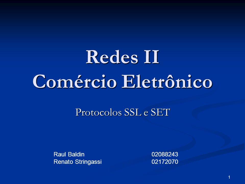 1 Redes II Comércio Eletrônico Protocolos SSL e SET Raul Baldin02088243 Renato Stringassi02172070