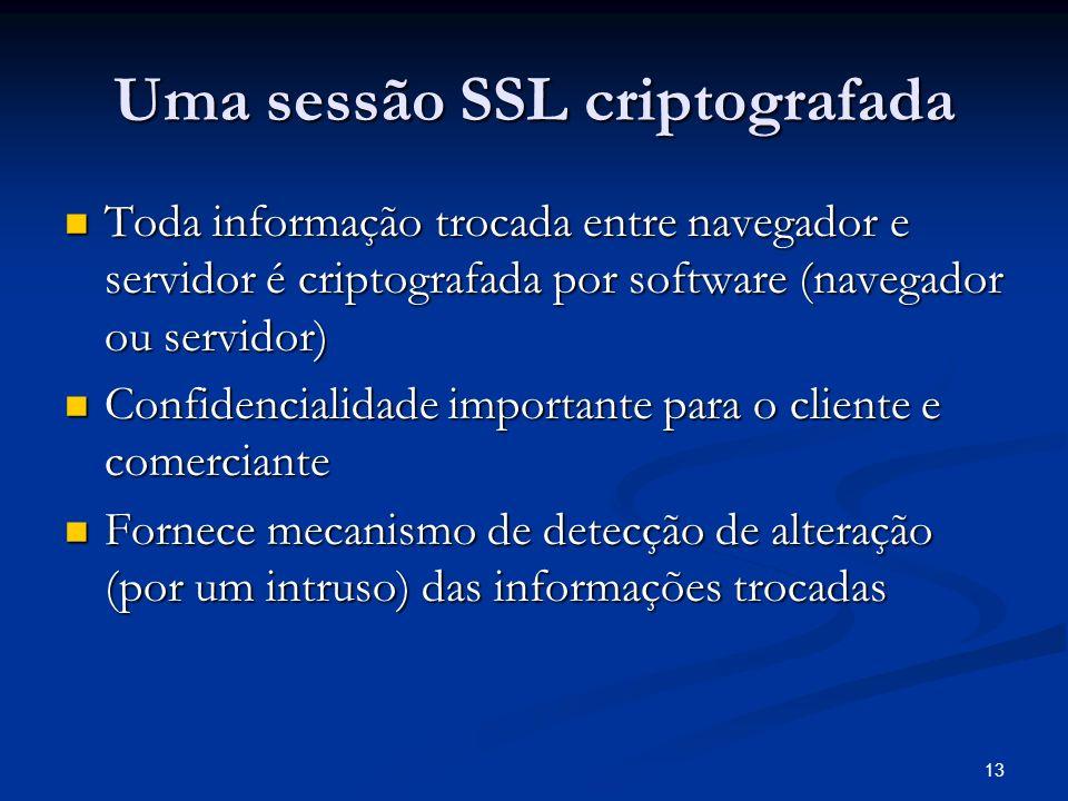 13 Uma sessão SSL criptografada Toda informação trocada entre navegador e servidor é criptografada por software (navegador ou servidor) Toda informaçã