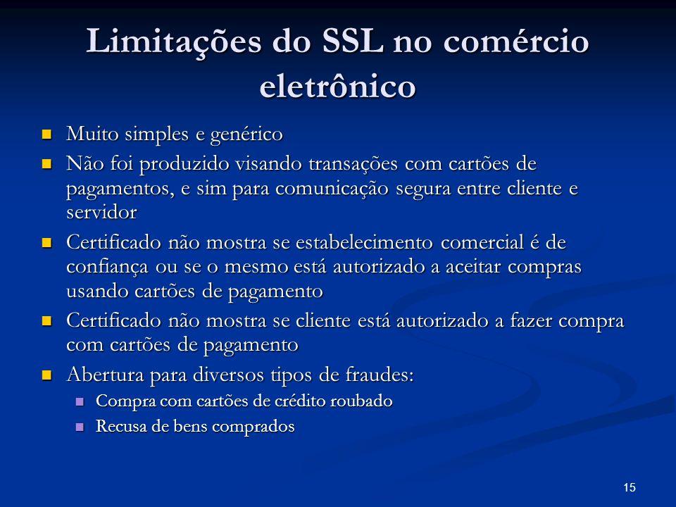 15 Limitações do SSL no comércio eletrônico Muito simples e genérico Muito simples e genérico Não foi produzido visando transações com cartões de paga