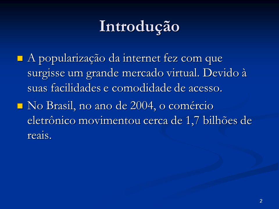 2 Introdução A popularização da internet fez com que surgisse um grande mercado virtual. Devido à suas facilidades e comodidade de acesso. A populariz