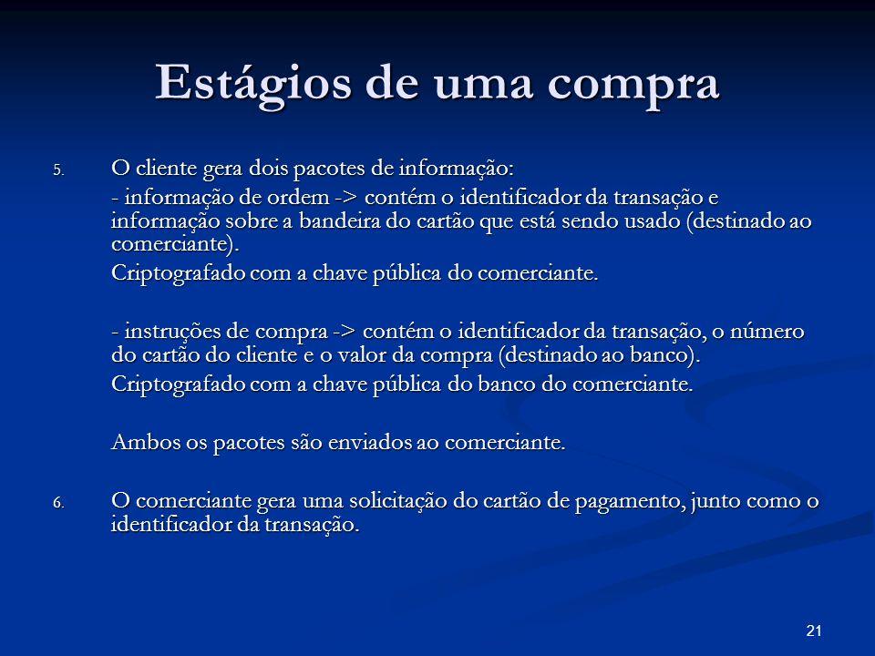 21 Estágios de uma compra 5. O cliente gera dois pacotes de informação: - informação de ordem -> contém o identificador da transação e informação sobr