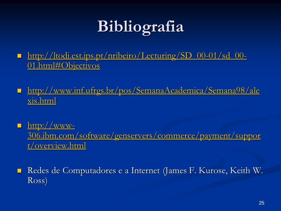 25 Bibliografia http://ltodi.est.ips.pt/nribeiro/Lecturing/SD_00-01/sd_00- 01.html#Objectivos http://ltodi.est.ips.pt/nribeiro/Lecturing/SD_00-01/sd_0