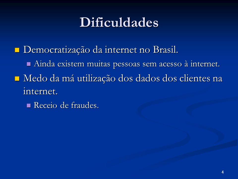 4 Dificuldades Democratização da internet no Brasil. Democratização da internet no Brasil. Ainda existem muitas pessoas sem acesso à internet. Ainda e