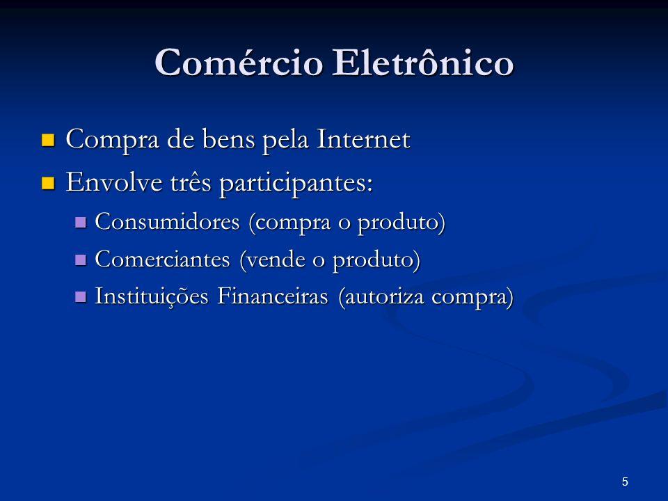 5 Comércio Eletrônico Compra de bens pela Internet Compra de bens pela Internet Envolve três participantes: Envolve três participantes: Consumidores (