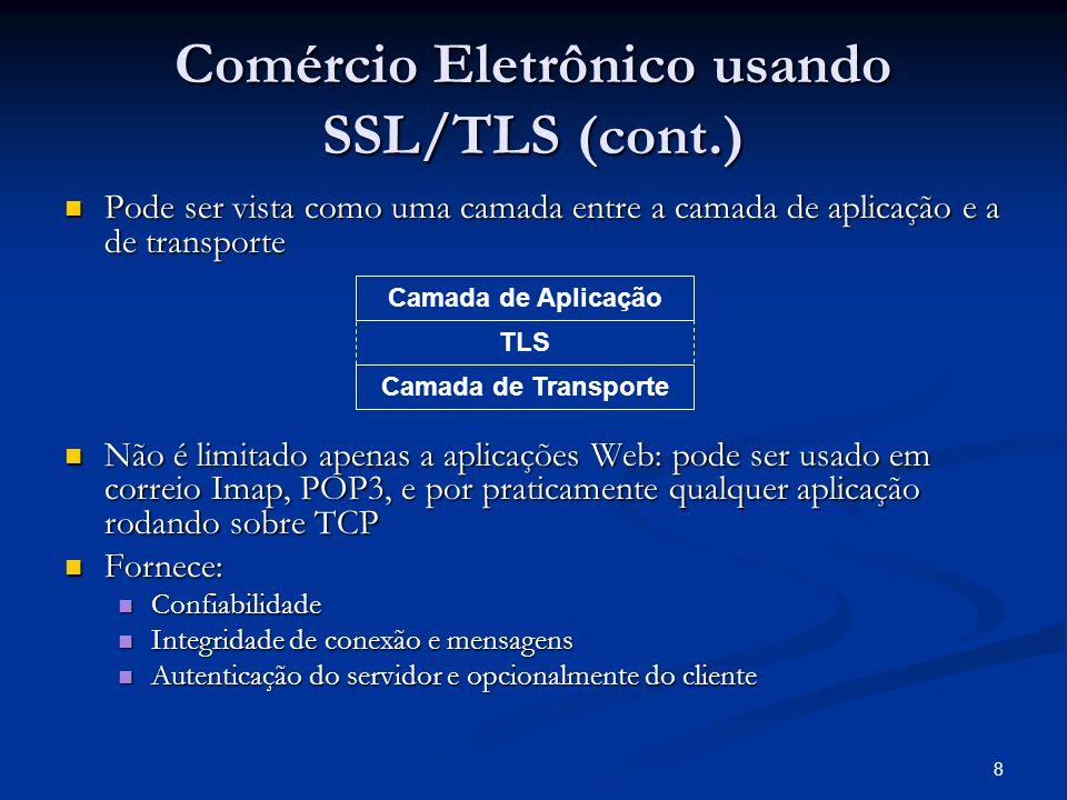 8 Comércio Eletrônico usando SSL/TLS (cont.) Pode ser vista como uma camada entre a camada de aplicação e a de transporte Pode ser vista como uma cama