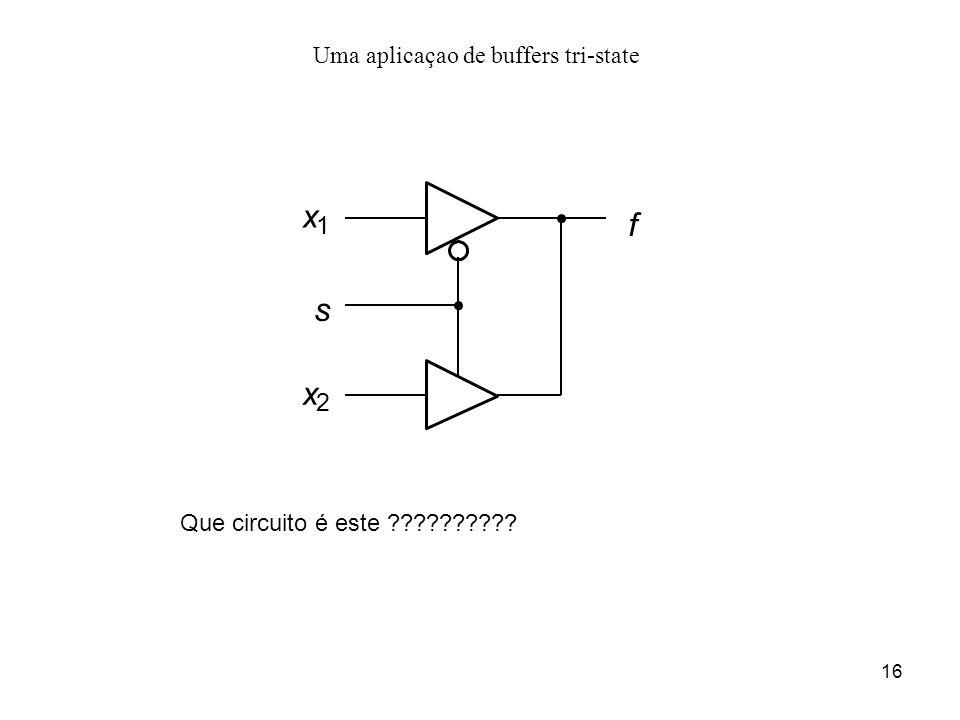 16 Uma aplicaçao de buffers tri-state f x 1 x 2 s Que circuito é este ??????????