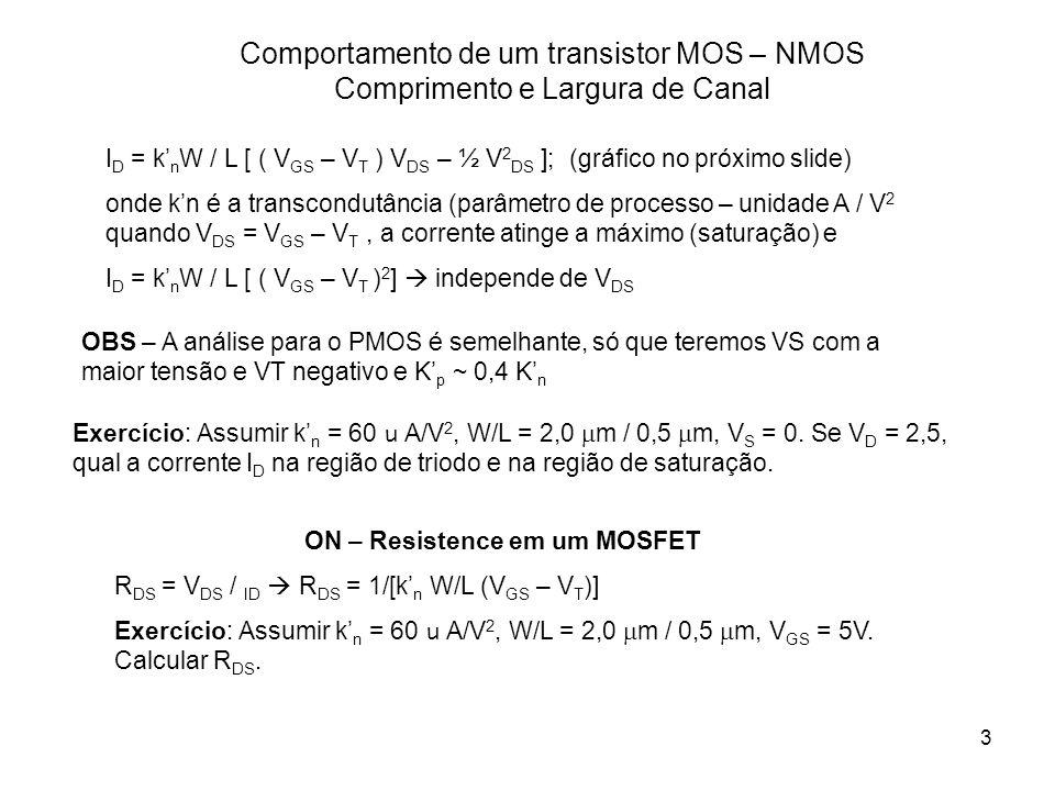 3 Comportamento de um transistor MOS – NMOS Comprimento e Largura de Canal Exercício: Assumir k n = 60 u A/V 2, W/L = 2,0 m / 0,5 m, V S = 0. Se V D =