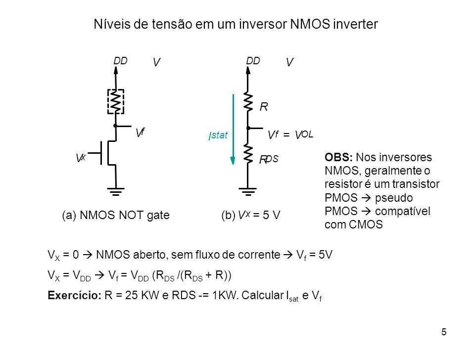 5 Níveis de tensão em um inversor NMOS inverter VV DD V(b) x = 5 V I stat R R DS V f V OL = (a) NMOS NOT gate V f DD V x V X = 0 NMOS aberto, sem flux