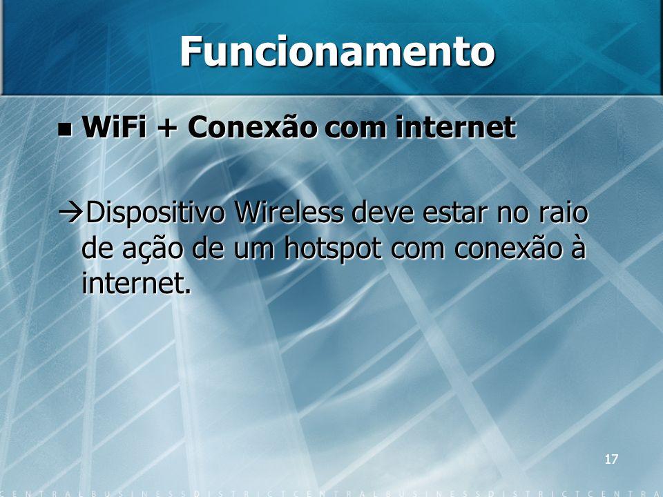 17 Funcionamento WiFi + Conexão com internet WiFi + Conexão com internet Dispositivo Wireless deve estar no raio de ação de um hotspot com conexão à i