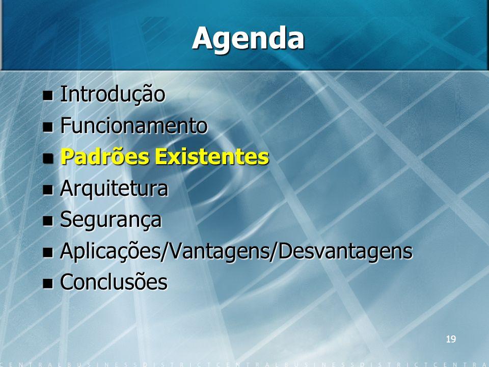 19 Agenda Introdução Introdução Funcionamento Funcionamento Padrões Existentes Padrões Existentes Arquitetura Arquitetura Segurança Segurança Aplicaçõ