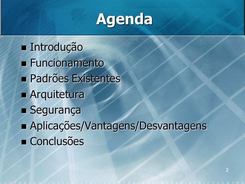 2 Agenda Introdução Introdução Funcionamento Funcionamento Padrões Existentes Padrões Existentes Arquitetura Arquitetura Segurança Segurança Aplicaçõe