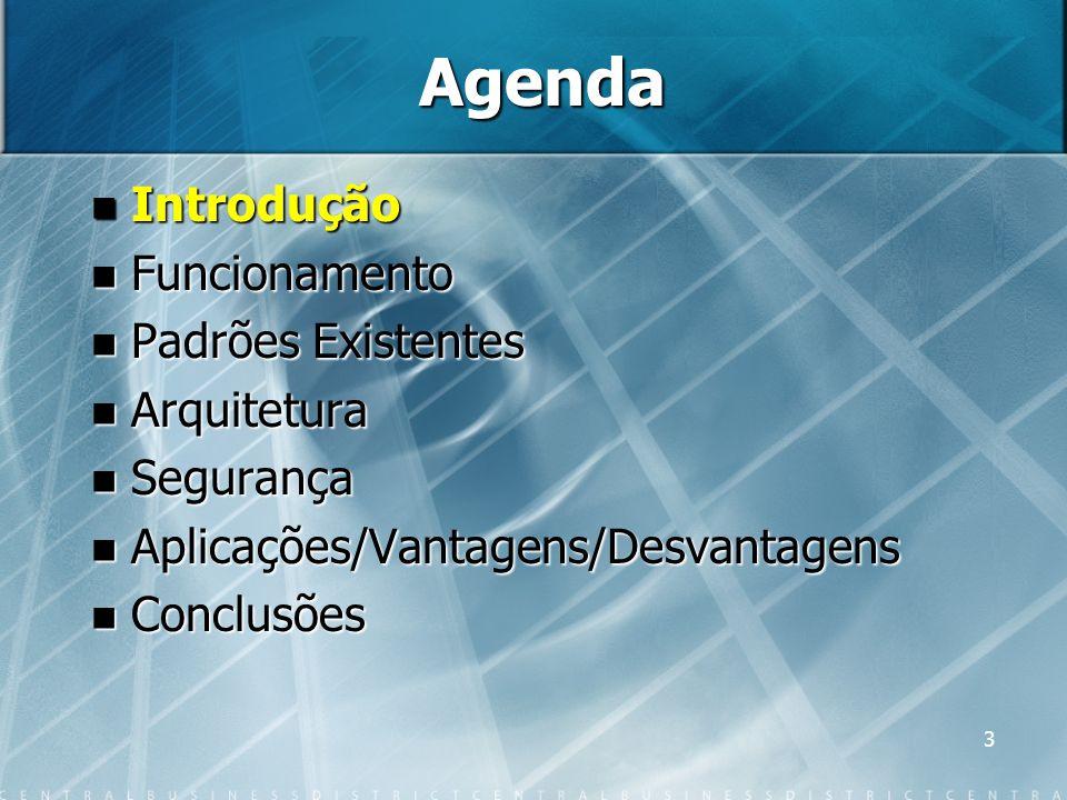 3 Agenda Introdução Introdução Funcionamento Funcionamento Padrões Existentes Padrões Existentes Arquitetura Arquitetura Segurança Segurança Aplicaçõe