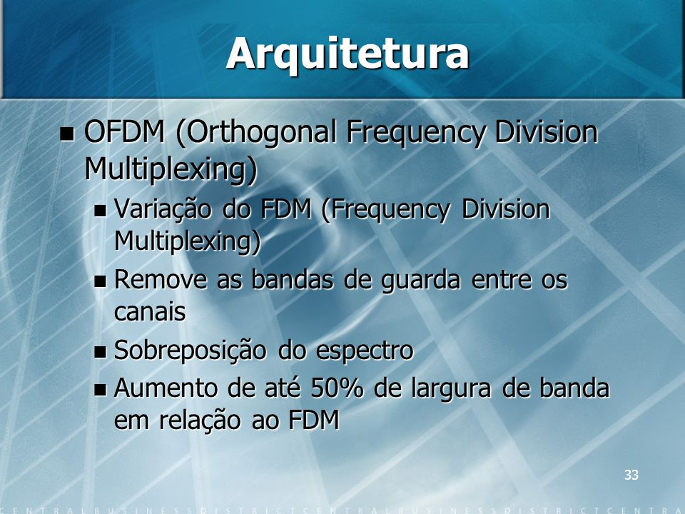33 Arquitetura OFDM (Orthogonal Frequency Division Multiplexing) OFDM (Orthogonal Frequency Division Multiplexing) Variação do FDM (Frequency Division