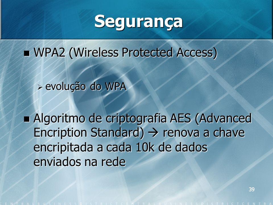 39 Segurança WPA2 (Wireless Protected Access) WPA2 (Wireless Protected Access) evolução do WPA evolução do WPA Algoritmo de criptografia AES (Advanced