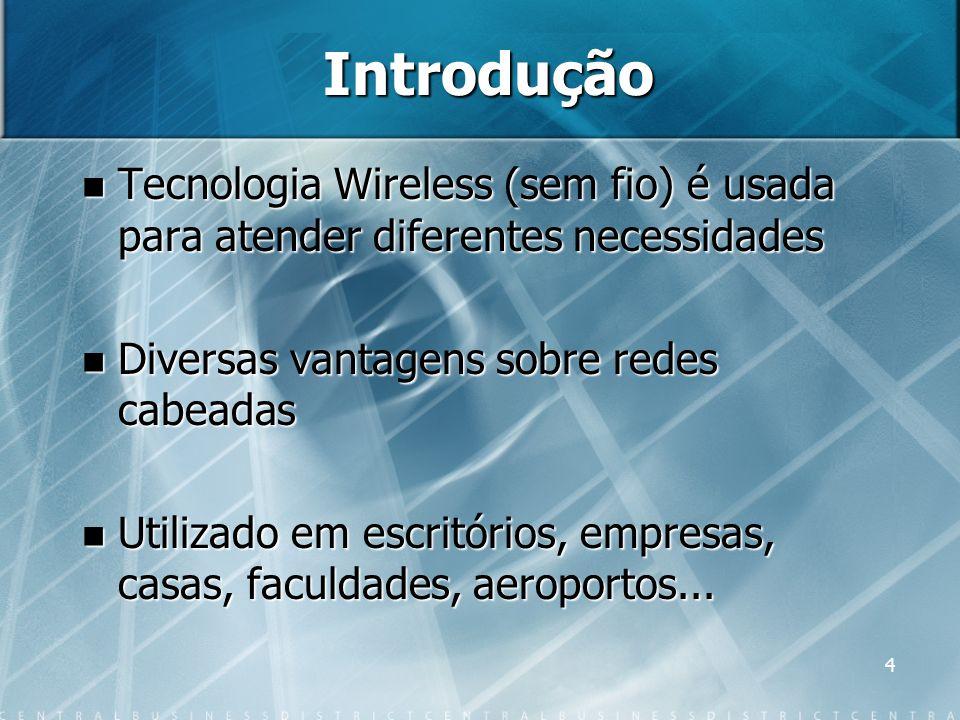 4 Introdução Tecnologia Wireless (sem fio) é usada para atender diferentes necessidades Tecnologia Wireless (sem fio) é usada para atender diferentes