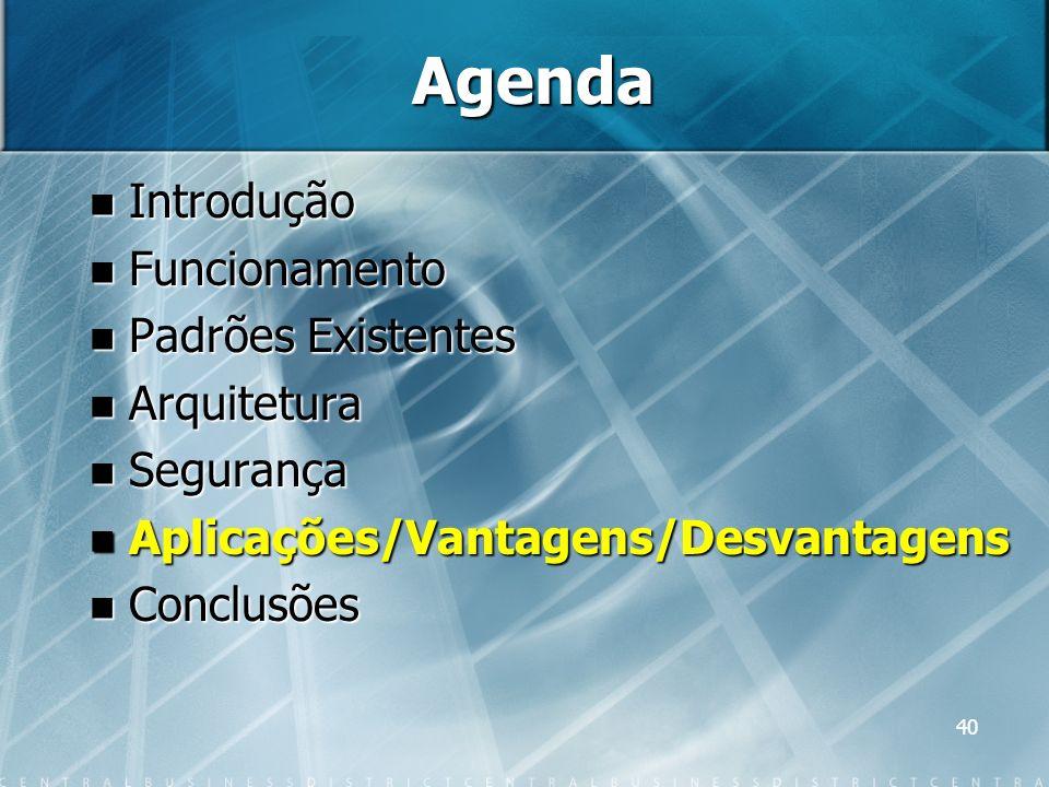 40 Agenda Introdução Introdução Funcionamento Funcionamento Padrões Existentes Padrões Existentes Arquitetura Arquitetura Segurança Segurança Aplicaçõ