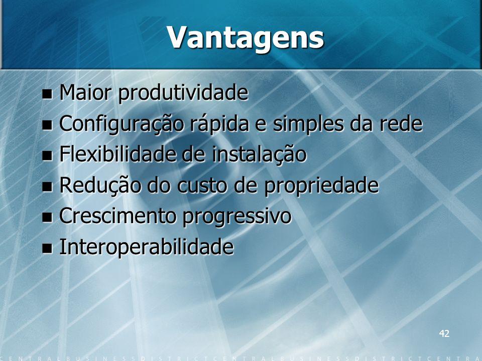 42 Vantagens Maior produtividade Maior produtividade Configuração rápida e simples da rede Configuração rápida e simples da rede Flexibilidade de inst