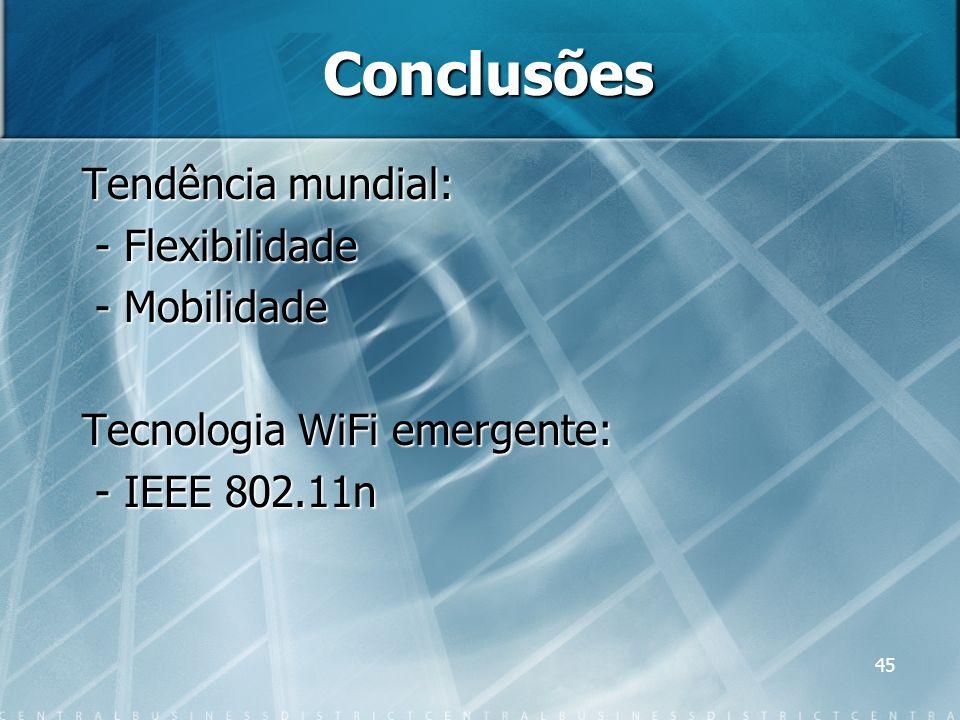 45 Conclusões Tendência mundial: - Flexibilidade - Flexibilidade - Mobilidade - Mobilidade Tecnologia WiFi emergente: - IEEE 802.11n - IEEE 802.11n