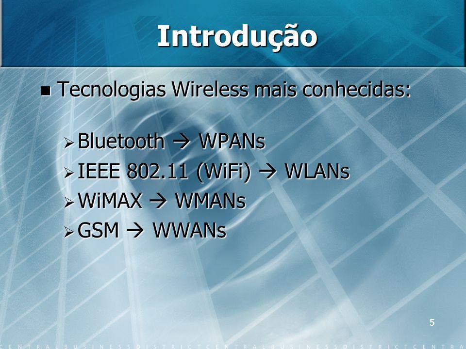 5 Introdução Tecnologias Wireless mais conhecidas: Tecnologias Wireless mais conhecidas: Bluetooth WPANs Bluetooth WPANs IEEE 802.11 (WiFi) WLANs IEEE