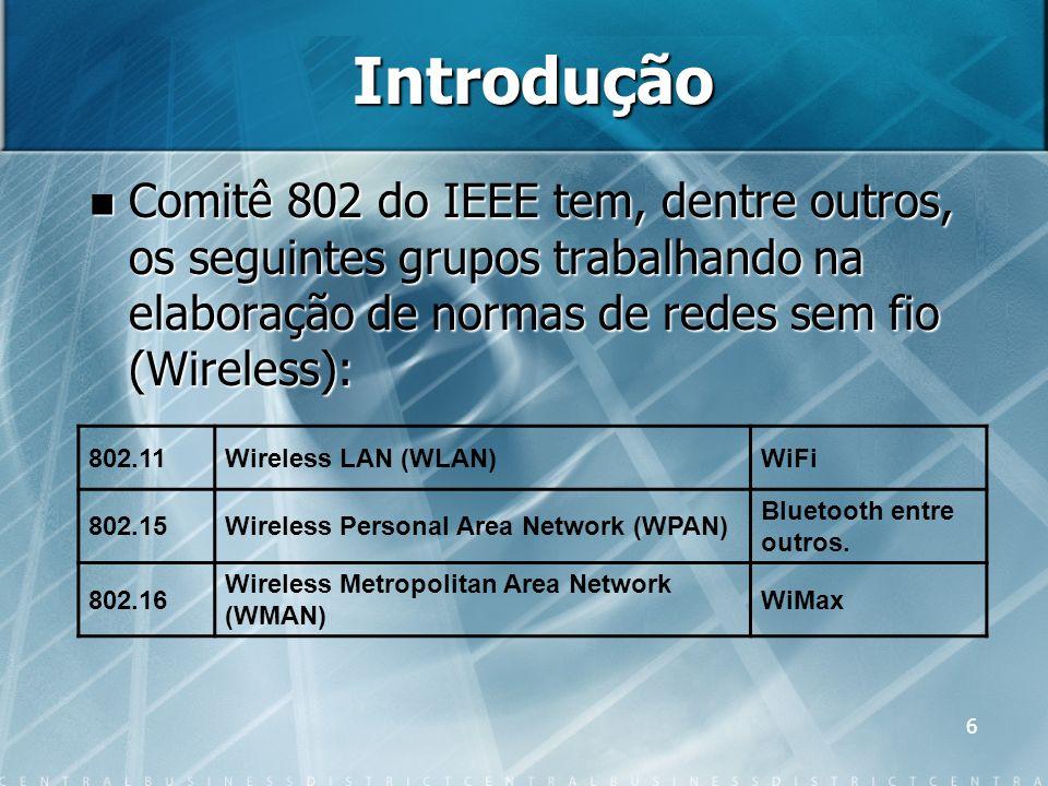 6 Introdução Comitê 802 do IEEE tem, dentre outros, os seguintes grupos trabalhando na elaboração de normas de redes sem fio (Wireless): Comitê 802 do