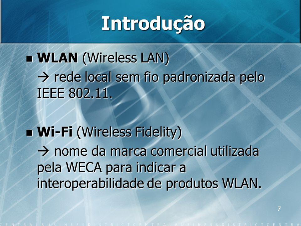 7 Introdução WLAN (Wireless LAN) WLAN (Wireless LAN) rede local sem fio padronizada pelo IEEE 802.11. rede local sem fio padronizada pelo IEEE 802.11.