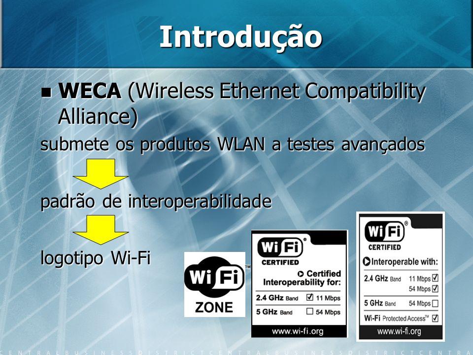 8 Introdução WECA (Wireless Ethernet Compatibility Alliance) WECA (Wireless Ethernet Compatibility Alliance) submete os produtos WLAN a testes avançad