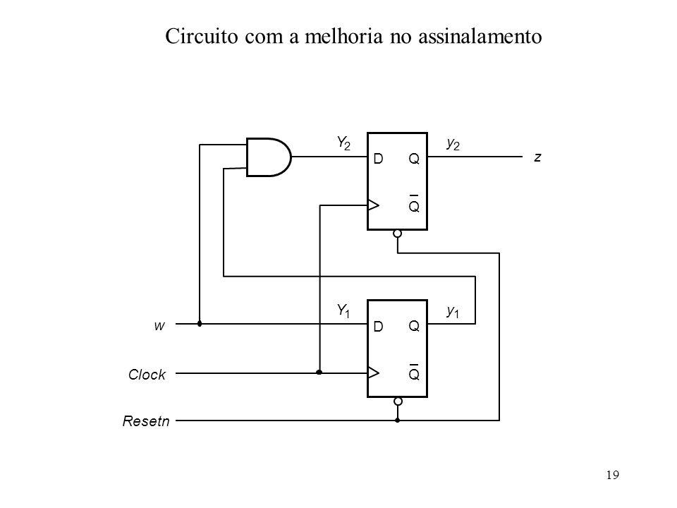 19 Circuito com a melhoria no assinalamento D Q Q D Q Q Y 2 Y 1 w Clock z y 1 y 2 Resetn