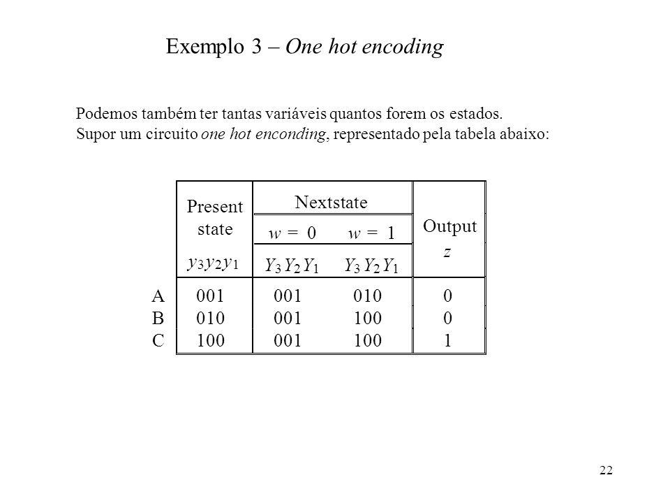 22 Present Nextstate state w=0w=1 Output y 3 y 2 y 1 Y 3 Y 2 Y 1 Y 3 Y 2 Y 1 z A001 0100 B 0011000 C 0011001 Exemplo 3 – One hot encoding Podemos tamb