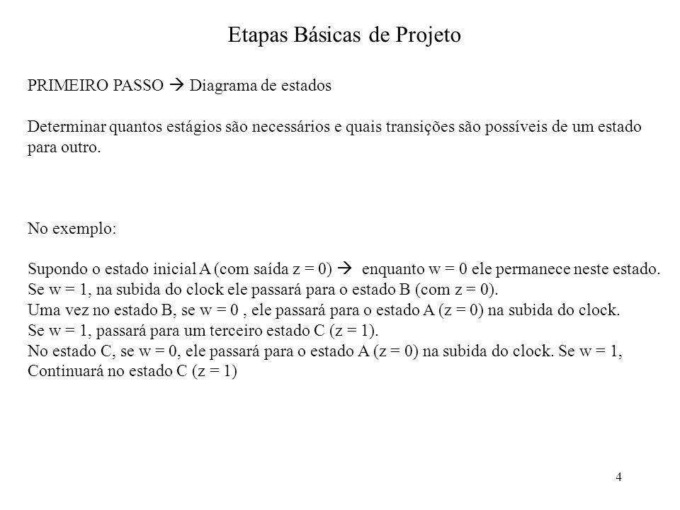 4 PRIMEIRO PASSO Diagrama de estados Determinar quantos estágios são necessários e quais transições são possíveis de um estado para outro. No exemplo: