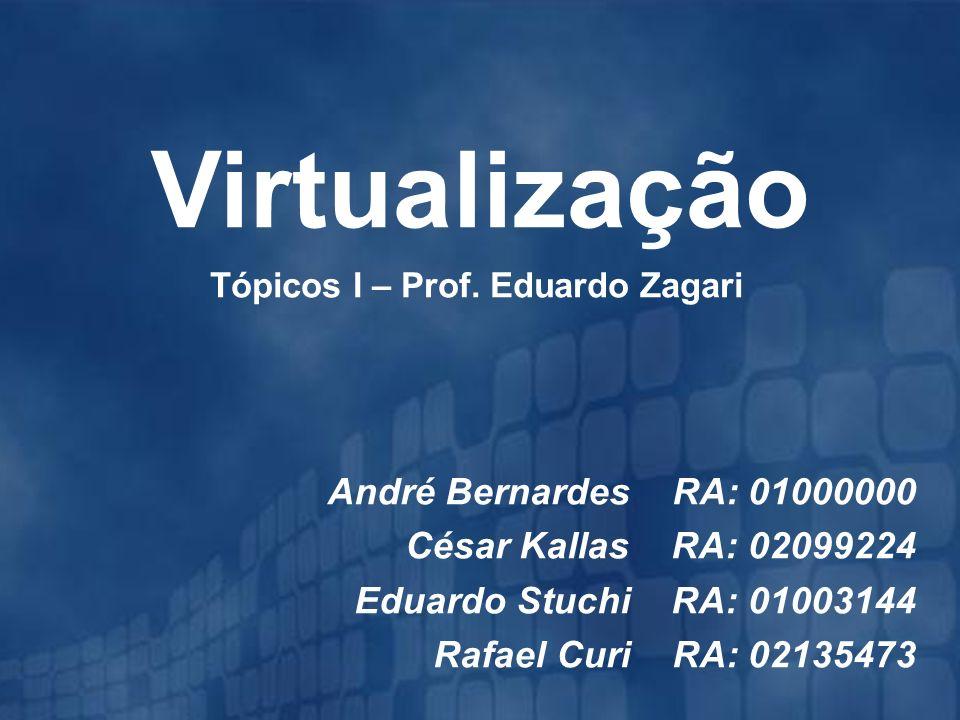 Tópicos I – Prof. Eduardo Zagari Virtualização André Bernardes RA: 01000000 César Kallas RA: 02099224 Eduardo Stuchi RA: 01003144 Rafael Curi RA: 0213