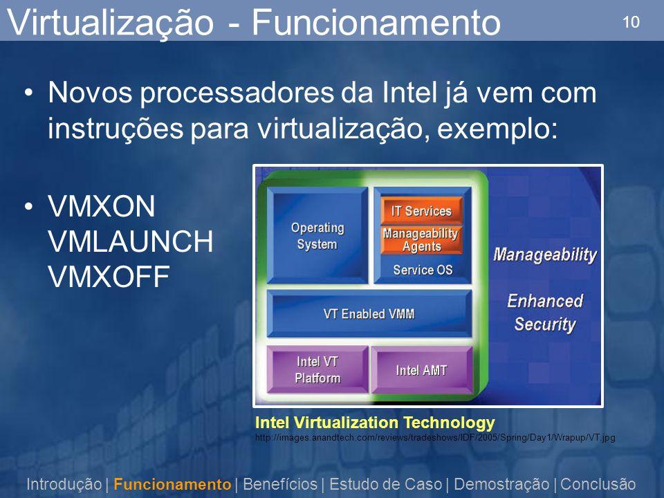 10 Virtualização - Funcionamento Novos processadores da Intel já vem com instruções para virtualização, exemplo: VMXON VMLAUNCH VMXOFF Introdução | Funcionamento | Benefícios | Estudo de Caso | Demostração | Conclusão Intel Virtualization Technology http://images.anandtech.com/reviews/tradeshows/IDF/2005/Spring/Day1/Wrapup/VT.jpg