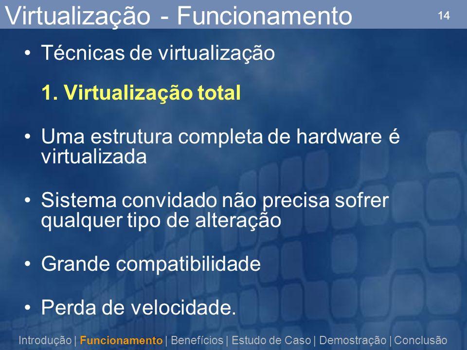 14 Virtualização - Funcionamento Técnicas de virtualização 1. Virtualização total Uma estrutura completa de hardware é virtualizada Sistema convidado