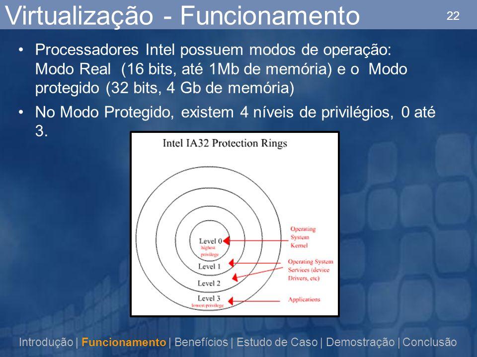 22 Virtualização - Funcionamento Processadores Intel possuem modos de operação: Modo Real (16 bits, até 1Mb de memória) e o Modo protegido (32 bits, 4 Gb de memória) No Modo Protegido, existem 4 níveis de privilégios, 0 até 3.