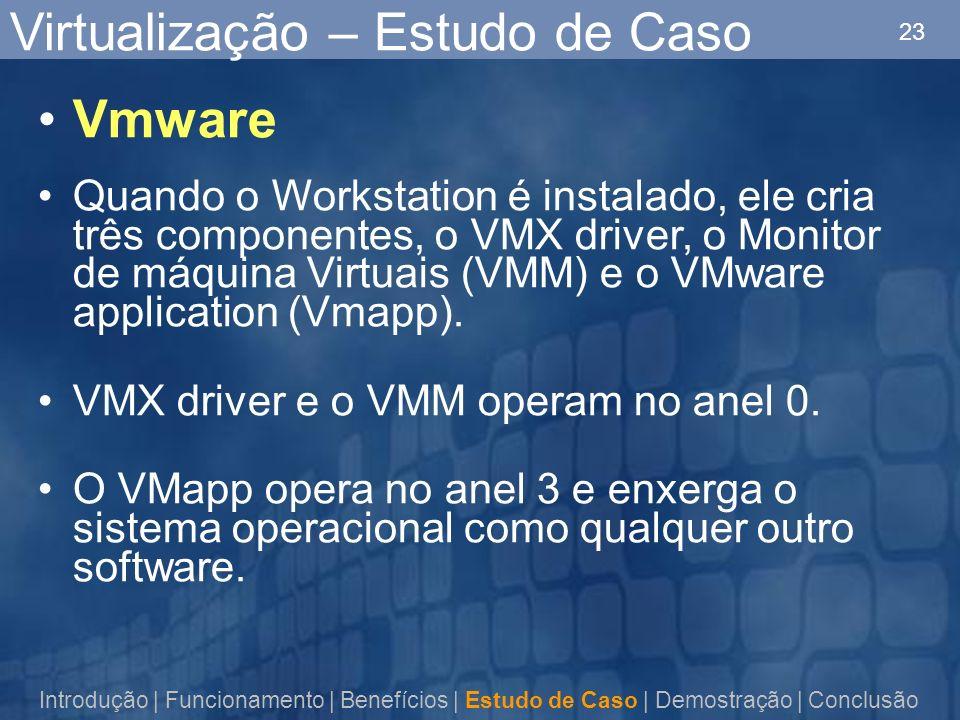 23 Virtualização – Estudo de Caso Vmware Quando o Workstation é instalado, ele cria três componentes, o VMX driver, o Monitor de máquina Virtuais (VMM) e o VMware application (Vmapp).